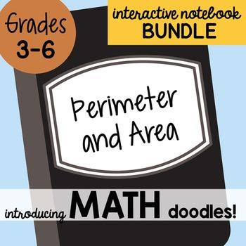 Math Doodles Interactive Notebook Bundle 12 - Perimeter and Area