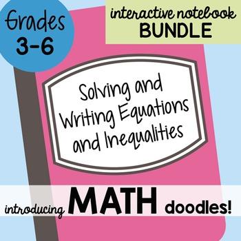 Math Doodles Interactive Notebook Bundle 15 - Solving & Writing Equations