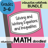 Math Doodles Interactive Notebook Bundle 15 -Solving & Writing Equations