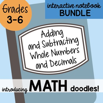 Math Doodles Interactive Notebook Bundle 2 - Adding and Subtracting Numbers
