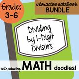 Math Doodles Interactive Notebook Bundle 4 - Dividing By 1 Digit Divisors