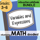 Doodle Notes - Math Interactive Notebook Bundle 6 - Variables and Expressions