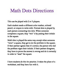 Math Dots - exponents, fractions
