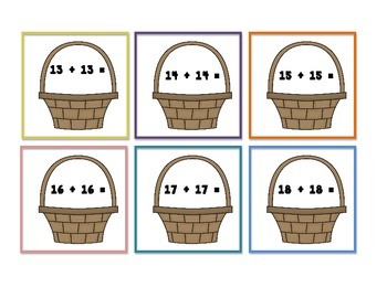 Math Doubles Facts - Easter basket.eggs