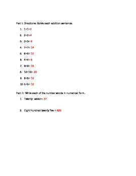 Math Doubles Practice