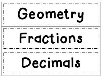 Math Drawer Labels