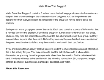 Math: Draw That Polygon! Cooperative Group Activity