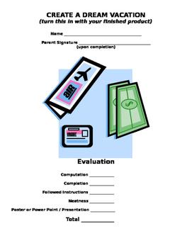 Math: Dream Vacation Project (Editable)