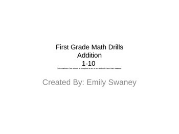 Math Drills 1-10. First Grade Mad Minutes. ADDITION