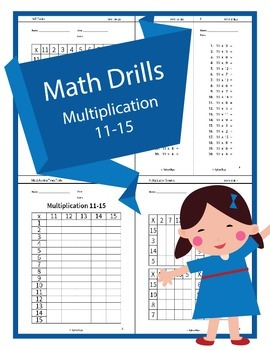 Math Drills - Multiplication 11 to 15