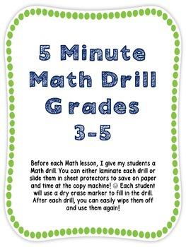 Math Drills for Grades 3-5