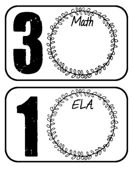 Math & ELA Basket Labels- Farmhouse/Rustic