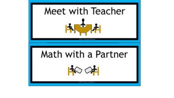 Math & ELA Rotation Chart - Aqua