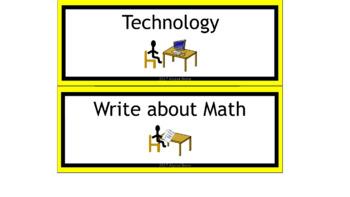 Math & ELA Rotation Chart - Bee Theme Colors