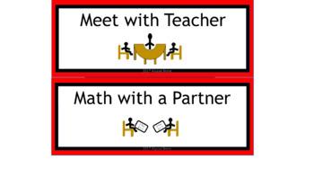 Math & ELA Rotation Chart - Red & Black