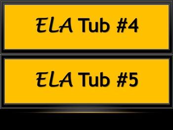 Math & ELA Tub Labels - Narrow - Bee Theme Colors (Black & Gold)
