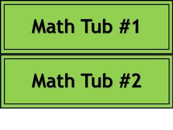 Math & ELA Tub Labels - Narrow - Color-Coded
