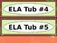 Math & ELA Tub Labels - Narrow Ovals - Coral Butterfly Theme