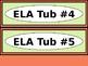 Math & ELA Tub Labels - Narrow Ovals - Coral and Pale Green