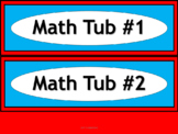 Math & ELA Tub Labels - Narrow Ovals - Dr. Seuss Tribute Colors