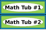 Math & ELA Tub Labels - Narrow Ovals - Lime & Teal