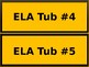 Math & ELA Tub Labels - Wide - Bee Theme Colors (Black & Gold)