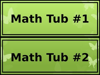 Math & ELA Tub Labels - Wide - Butterfly Theme