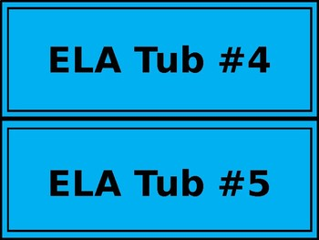 Math & ELA Tub Labels - Wide - Color-Coded