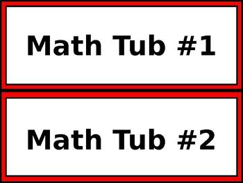 Math & ELA Tub Labels - Wide - Red & White