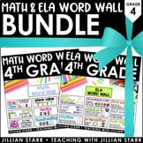 Math & ELA Word Wall Bundle: Grade 4