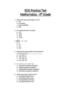 Math EOG Practice Test - 4th Grade