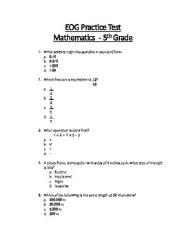 Math Eog Practice Test A 5th Grade By Teachertime28 Tpt