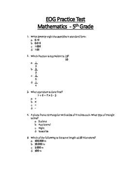 Math EOG Practice Test A- 5th Grade