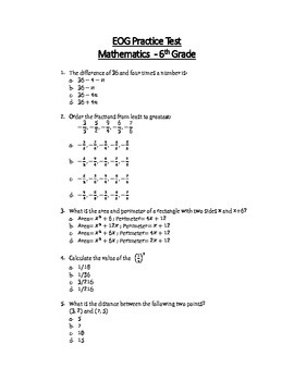 Math EOG Practice Test A - 6th Grade by Teachertime28 | TpT