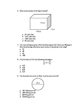 Math EOG Practice Test A - 6th Grade
