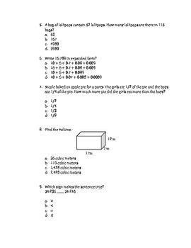 Math EOG Prep Test B - 5th Grade