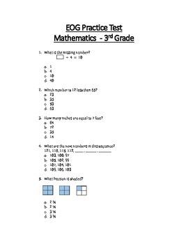 Math Eog Practice Test A 3rd Grade By Teachertime28 Tpt