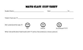 Math EXIT Sheet ~ Editable