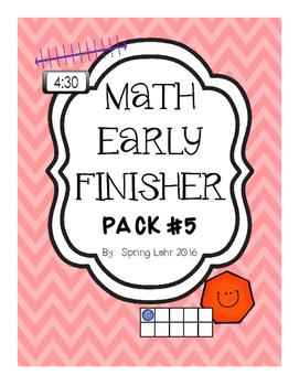 Math Early Finsiher Pack #5 - No Prep - Fun!