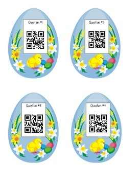 Math Easter Egg Hunt - Addition with Regrouping Version (QR Codes, too!)