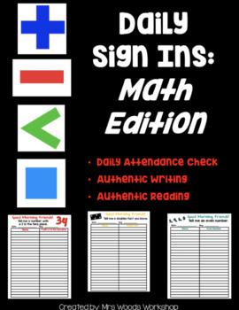 Math Editable Sign Ins
