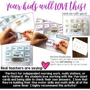 Math Edition: Fun-Sized Clip & Flip Cards! Add, Subtract, Tally Marks, Ten Frame