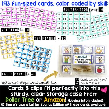 Math : Fun-Sized Clip & Flip Cards . Add . Subtract . Tally Marks . Ten Frames