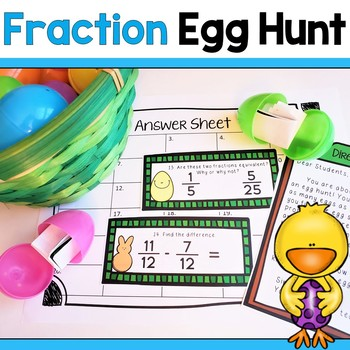 Math Egg Hunt! Equivalent Fractions, Adding & Subtracting Fraction Review