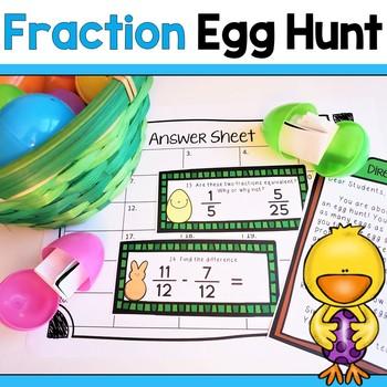 Math Egg Hunt! Equivalent Fractions, Adding & Subtracting
