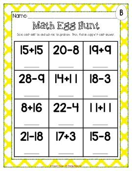 Math Eggs Activities - Grades 1 & 2