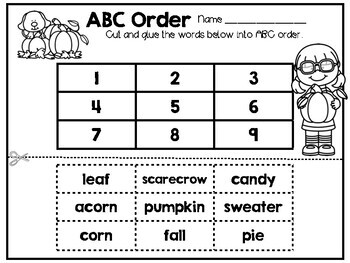 Fall Language Arts and Math Printables and Activities