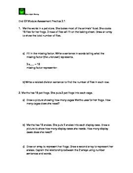 Math End of Module 5 Third Grade Assess. Task Practice Com