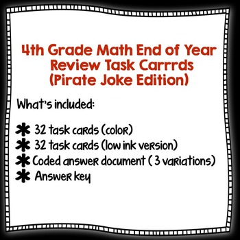 Math End of Year Review Task Carrrds (Pirate Joke Edition)  w/ coded answers