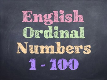 Math - English Ordinal Numbers PowerPoint
